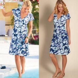 Soft Surroundings Blue Floral Dress
